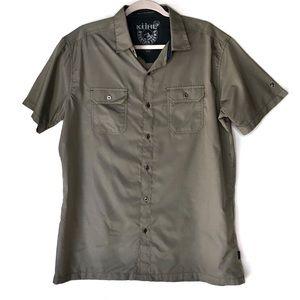 KUHL. Khaki short sleeve button up. Size Large.